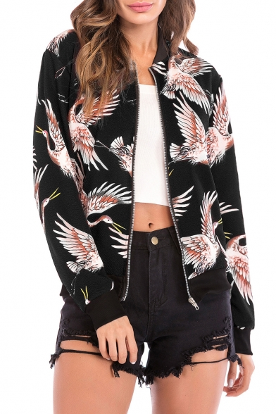 Crane Printed Stand Up Collar Long Sleeve Zip Up Fashion Jacket