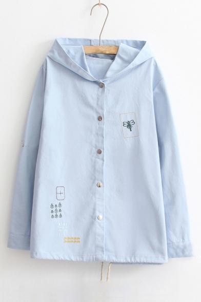 Cute Dragonfly Embroidered Button Front Long Sleeve Drawstring Hem Hooded Jacket