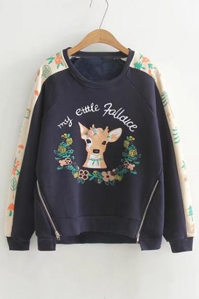 Deer Letter Contrast Floral Printed Round Neck Long Sleeve Sweatshirt