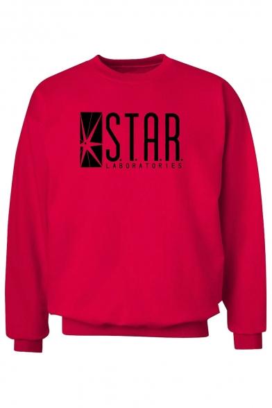 Geometric STAR Letter Print Round Neck Long Sleeve Sweatshirt for Men