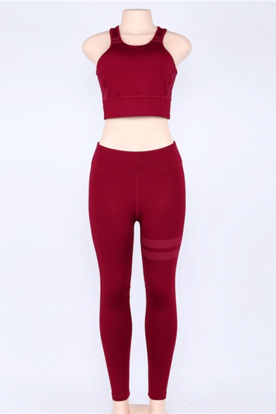 Sports Round Neck Sleeveless Crop Tank with High Waist Contrast Striped Leggings Co-ords