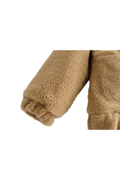 Warm Faux Fur Lapel Collar Long Sleeve Zip Closure Plain Jacket