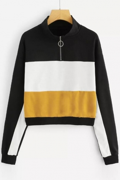 Zipper Front High Neck Color Block Long Sleeve Casual Sweatshirt