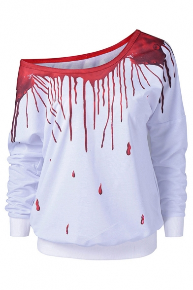 3D Liquid One Shoulder Long Sleeve Casual Sweatshirt