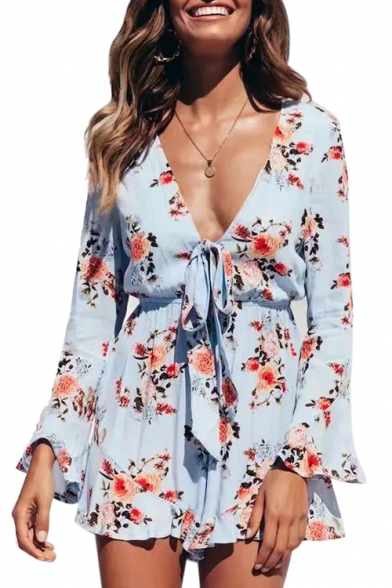 Купить со скидкой Chic V Neck Tie Front Floral Print Long Sleeve Romper