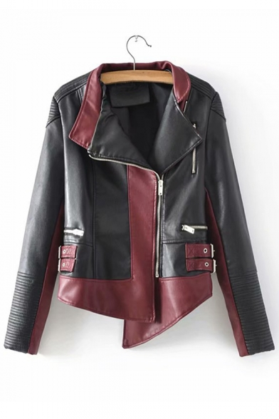 Color Block Lapel Collar Long Sleeve Offset Zip Closure Asymmetric Hem Cropped Leather Jacket