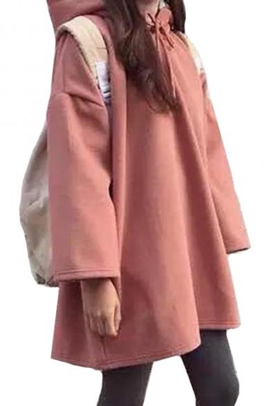 Dropped Shoulder Plain Long Sleeve Loose Tunic Hoodie