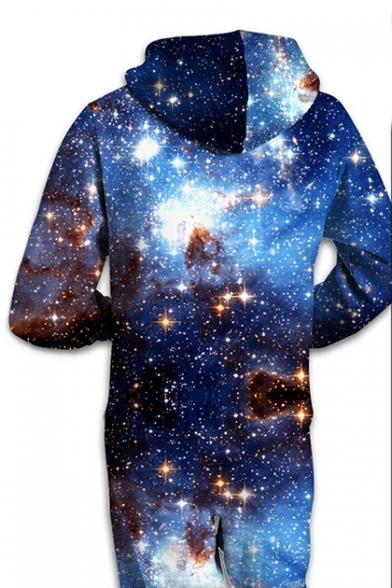 Galaxy Printed Long Sleeve Hooded Jumpsuit
