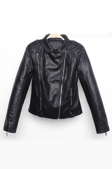 Notched Lapel Collar Plain Long Sleeve Zipper Front Cropped PU Leather Jacket