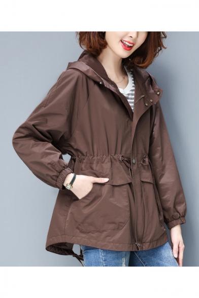 Plain Drawstring Waist Zip Placket Long Sleeve Hooded Jacket