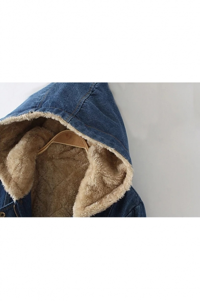 Plain Long Sleeve Drawstring Waist Zip Placket Hooded Fur-Lined Denim Coat