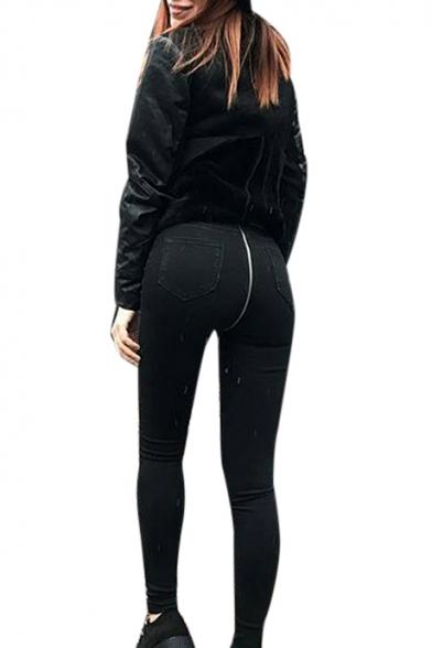 Plain Zipper Back High Waist Skinny Jeans