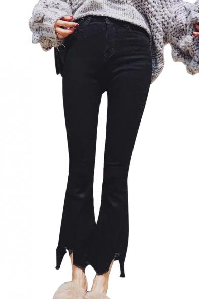Raw Hem Plain Slim Zip Fly Cropped Flare Jeans