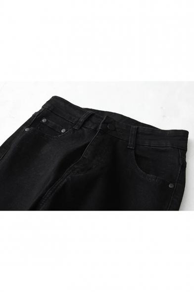 Retro Plain Raw Hem Flare Cropped Jeans