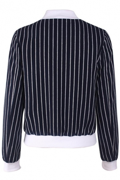Contrast Stand Up Collar Striped Printed Long Sleeve Zip Up Jacket