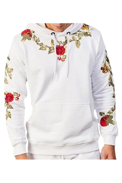 Floral Embroidered Long Sleeve Casual Hoodie