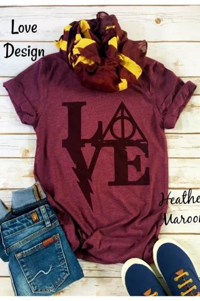 LOVE Letter Geometric Printed Round Neck Short Sleeve T-Shirt