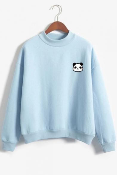 Panda Embroidered Mock Neck Long Sleeve Pullover Sweatshirt
