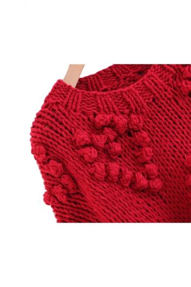Pom Pom Embellished Round Neck Long Sleeve Plain Sweater