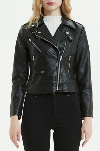 PU Notched Lapel Collar Plain Offset Zip Closure Cropped Leather Jacket