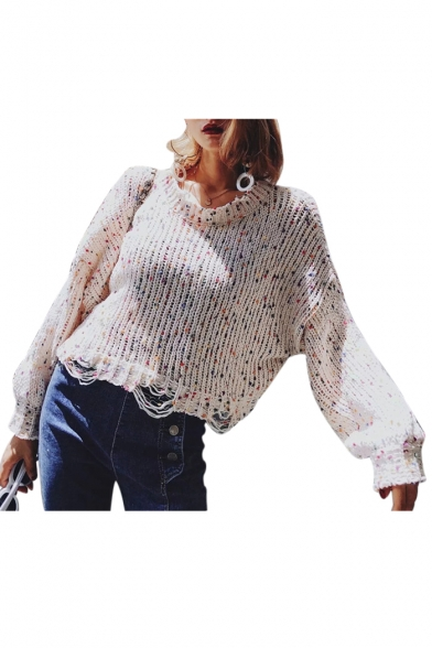 Round Neck Long Sleeve Ripped Detail Colorful Pom Pom Embellished Chic Cropped Sweater