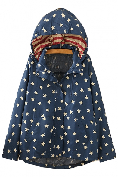 Star All Over Printed Zip Up Long Sleeve Hooded Jacket