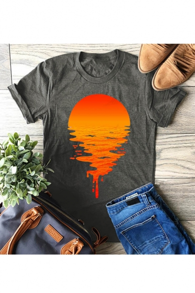 Sunset WQC5FA03E Printed Round Neck Short Sleeve T Shirt 52599B56AA2