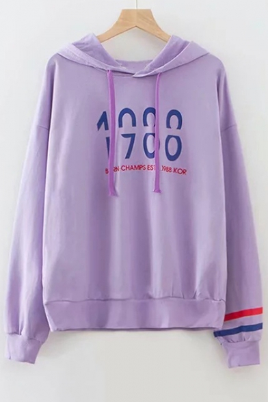 Image of 1988 Letter Printed Contrast Striped Long Sleeve Leisure Hoodie