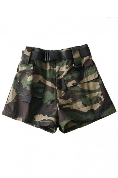 Купить со скидкой Camouflage Printed High Waist Leisure Shorts with Cargo Pockets