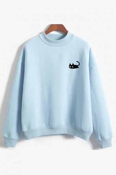 Cat Print Crew Neck Long Sleeve Pullover Sweatshirt