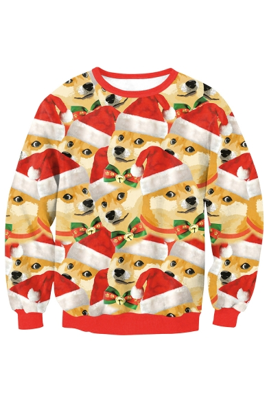 Cute Christmas Dog All Over Printed Round Neck Long Sleeve Sweatshirt, LC482484