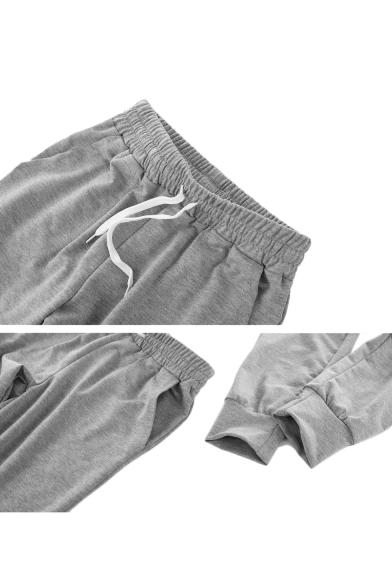 Drawstring Waist Leisure Plain Loose Sports Pants