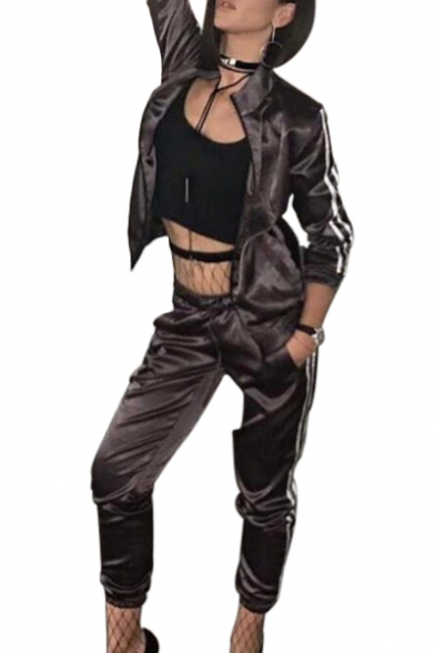 Fashion Contrast Striped Side Stand Up Collar Long Sleeve Zip Up Jacket with Leisure Loose Pants Co-ords