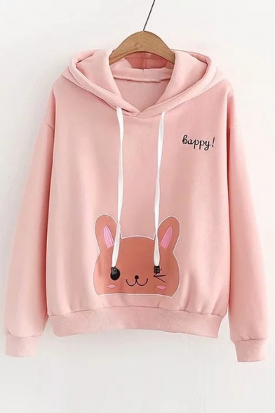 HAPPY Letter Cat Embroidered Long Sleeve Casual Hoodie