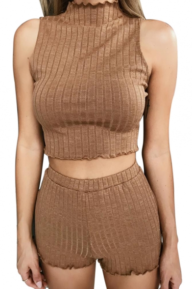 Plain Mock Neck Sleeveless Cropped Tank with Elastic Waist Skinny Shorts Ribbed Co-ords