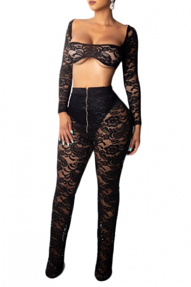 Sexy Square Neck Long Sleeve Cropped Top with Zip Fly High Waist Flare Pants Sheer Lace Co-ords