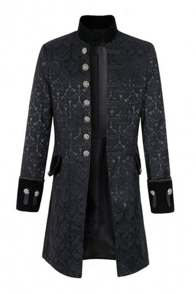 Stand Up Collar Floral Jacquard Long Sleeve Single Breasted Uniform Coat