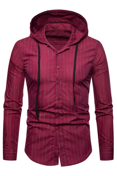 Striped Long Sleeve Button Front Slim Hooded Shirt