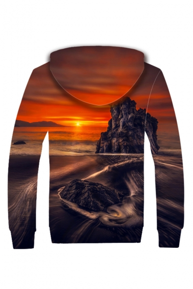 Sunset Landscape Long Sleeve Zip Up Plush Lined Hoodie