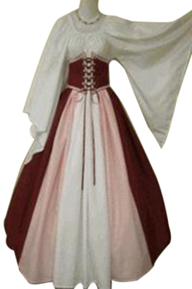Vintage Cosplay Color Block Round Neck Flare Sleeve Maxi A-Line Dress with Corset