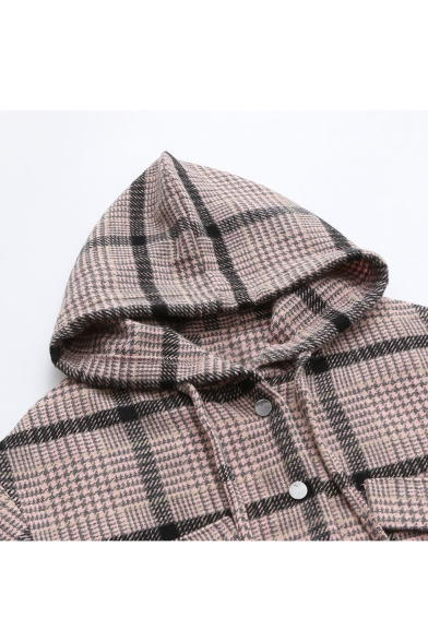 Chic Plaid Button Front Long Sleeve Elastic Cuffs Hooded Jacket