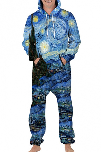 Famous Painting Printed Long Sleeve Hooded Jumpsuit