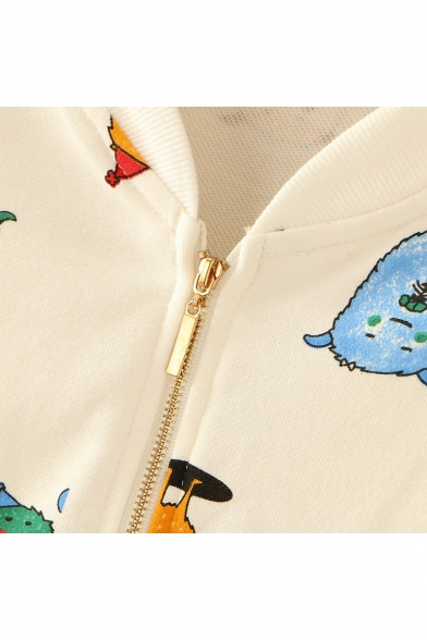 Lovely Cartoon All Over Printed Stand Up Collar Long Sleeve Zip Closure Jacket