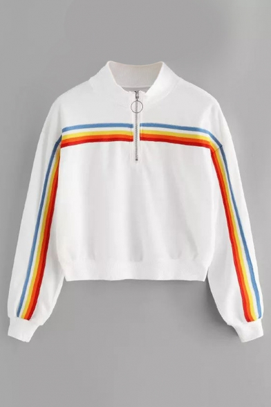Retro Rainbow Striped Patched High Neck Zipper Front Long Sleeve Sweatshirt