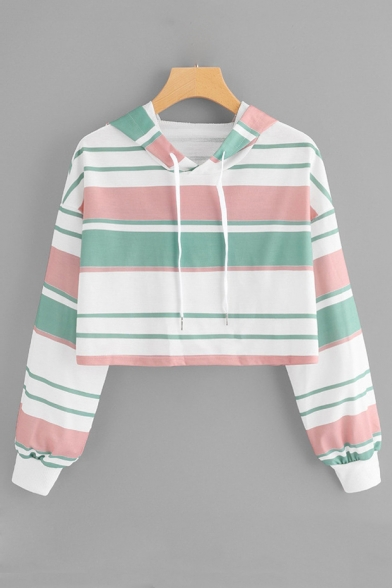 Classic Striped Long Sleeve Cropped Hoodie