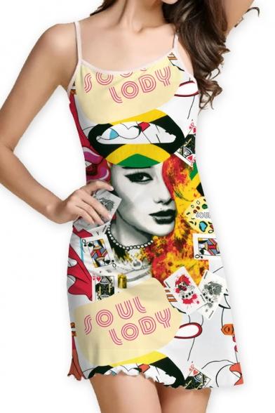 Digital Letter Character Printed Spaghetti Straps Sleeveless Mini Cami Dress