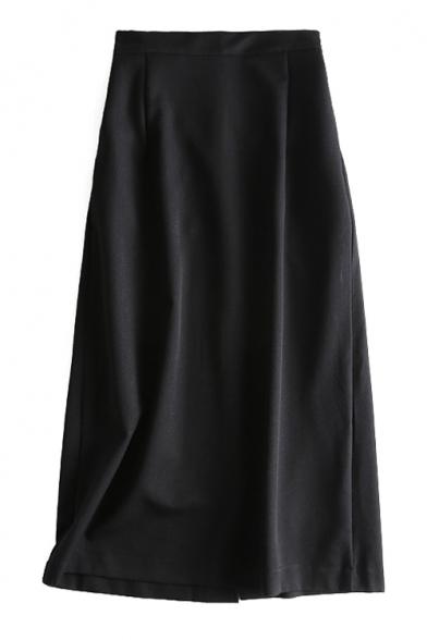 High Waist Plain Split Back Maxi Pencil Skirt