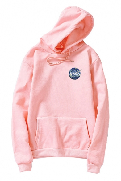 NASA Letter Graphic Print Long Sleeve Casual Hoodie