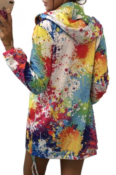 Splatter Painting Long Sleeve Zip Up Hoodie