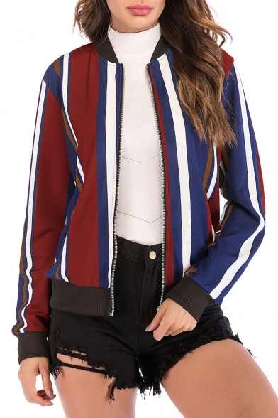 Stand Up Collar Color Block Striped Long Sleeve Zip Closure Jacket